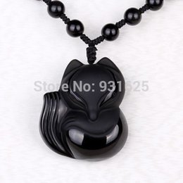 Wholesale Natural Hand Carved Stones - Charming 43x38mm 36x32mm Chinese Handwork Black Obsidian Hand-Carved Lucky Fox Amulet pendant necklace woman man's Jewelry