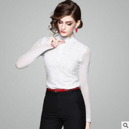 Wholesale Translucent Clothes - 2018 spring women's shirt Light luxury ladies clothes New solid color Lace stitching Net yarn translucent long-sleeved shirt