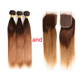two toned straight hair Coupons - Ombre Human Hair Weave Bundles with Closure Two Tone Blonde 4 30# Ombre Brazilian Straight Human Hair Extensions with 4x4 Lace Closure