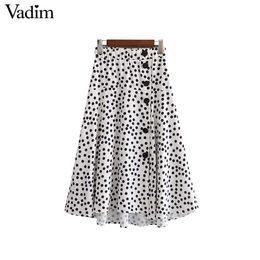Wholesale Dotted Ladies Skirts - Vadim basic dot pattern midi skirt buttons split elastic waist side zipper ladies irregular streetwear mid calf skirts BSQ765