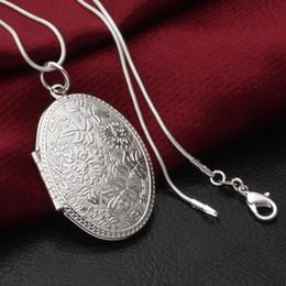 2019 collares para mujeres Plata esterlina 925 medallón collares chapado en oro caja de foto abierta collar colgante con cadenas de serpiente de plata de 18 pulgadas para las mujeres joyería de moda collares para mujeres baratos