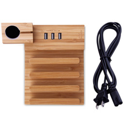 Multi-function Wood Phone Desk Stand Holder Charging Dock 3 USB Ports with Charging Cable for iPhone iPad QJY99 Coupon