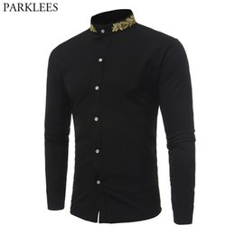 2020 вышивка мужскими рубашками Stand Collar Men Shirt 2017  New Gold Embroidery Men Shirt Long Sleeve Slim Fit Cotton Male Shirts Casual Mens Dress Shirts дешево вышивка мужскими рубашками