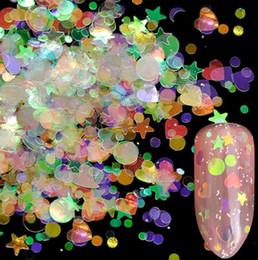 2019 блестки 14 коробка голографические ногтей блеск Mix Звезда круглый сердце Flakies Русалка зеркало нерегулярные блестка DIY блестки ногтей скидка блестки