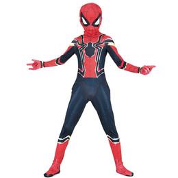 2019 nova máscara de homem-aranha Meninos Halloween estilo Nano aço spiderman músculo Cosplay ternos 2018 New Kids Vingadores superhero traje cosplay roupas + máscara 2 pcs conjuntos B nova máscara de homem-aranha barato