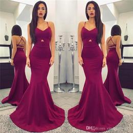 Wholesale long silver cross - New Designer Cheap Simple Plum 2018 Long Mermaid Prom Dresses Sexy Spaghetti Straps Backless Floor Length PROM DRESSES vestidos de fiesta