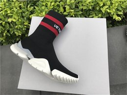 Wholesale Slip Shoes Men Cowboy - VETEMENT x Ree Sock Trainer Dropping Trainer Casual Shoe Man Woman Socks Stretch Knit Outdoors Speed Knit Sock High-Top Training Sneakers