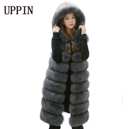 Wholesale Red Fox Vest - UPPIN 2017 New Fashion Fur Vest Women Winter With Hood Furry Cute Faux Fox Long Fur Vest Woman Plus Size Faux Overcoat