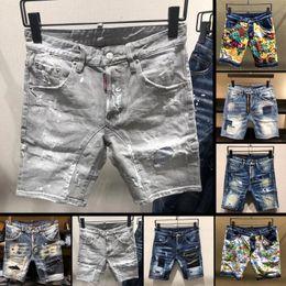 Wholesale coated denim shorts - New Famous brand designer shorts men high quality slim fit ripped mens denim jeans shorts fashion street luxury man short jeans