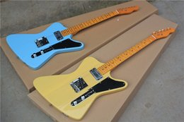 Wholesale Guitar Bird Custom - Factory custom hot selling blue'yellow body F-bird electric guitar with 2 pickups,chrome hardware,Retro yellow maple neck,-17-11
