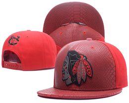 Wholesale Leather Logo Sports Hats Caps - Men's Red Top Leather Visor Chicago Blackhawks Snapback Hat Logo Embroidery Sport NHL Adjustable Ice Hockey Caps Flat Baseball Hats