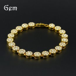 Wholesale Stainless Steel Jewelry Cz Bracelets - Gold Palted Bling Bling Hip Hop Bracelet 1 Row Round Iced Out Cz Bracelet Top Fashion Mens Jewelry#HOP