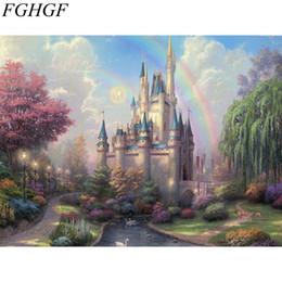 Arco-íris da lona da pintura a óleo on-line-FGHGF Rainbow Castle Pintura DIY Por Números Pintados À Mão Pintura A Óleo Da Lona Decoração de Casa Para Presente Original Da Arte Da Parede Imagem