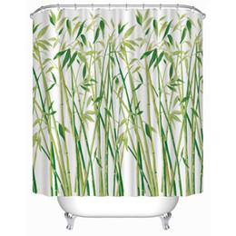 Canada Le rideau en douche imperméable 3D décorations en bambou vert a imprimé le volet de polyester de rideaux de salle de bains pour la salle de bains supplier shower curtains green Offre