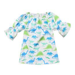 Wholesale Cool Military - Girls Dress Pagoda Sleeve Camouflage Dinosaur Cartoon Printed Skirt Summer Breathable Cool Half Sleeve 2018 New 6M-4T