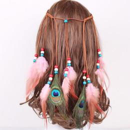 estilos de tejido de pelo indio Rebajas Plumas de plumas de color puro colorido pluma cuerda de pelo caliente estilo indio bandas tejidas de pelo 7 colores al por mayor