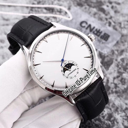 Wholesale thinnest automatic watch - New 39mm Master Ultra Thin 1368420 Steel Case Silver Dial Moon Phase Automatic Mens Watch Black Leather Strap Sports Watches JL-B16a1