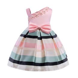 2019 vestido de manga longa de 18 meses 2018 primavera tutu das crianças dress para meninas pérola floret vestidos de baile única alça de ombro listras vestidos de festa vestido de baile