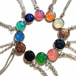Wholesale Gray Agate - 10 Styles kendra Druzy Drusy Earrings Scot Necklace stainless steel Resin Stone Necklaces Mixed Colors AS U Like to Meet