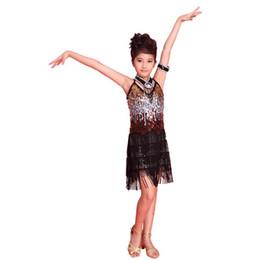 Trajes de salsa para crianças on-line-New kids Tasseled Salão de baile Latina Salsa Dancewear Meninas Partido Dance Costume Dress