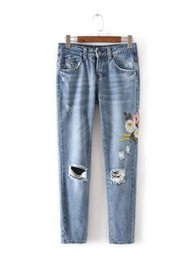 Wholesale Trouser Styles For Skinny Women - 2018 Flowers Embroidered Women Jeans Fashion mom Pants Denim Jeans For Woman Pencil Pants Light Blue European Femme Trousers