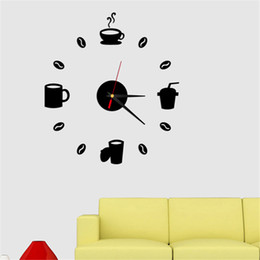 Relojes de pared sin marco online-Moderno creativo 3D Frameless DIY reloj de pared CoffeeLeisure pegatinas de pared decorativas Clocks Room Home Decorations (Black1)