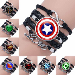 Wholesale Wholesale Accessories For Girls - 2018 Fashion Super Hero Superman Glass Cabochon Infinity Love Leather Bracelet For Girls Women time gemstone Accessories Jewelry Gift 320052