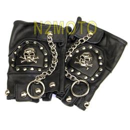 Wholesale chain protectors - Skeleton&Chain&stud Cool Passenger Fingerless Glove Half Finger Protector Black Leather