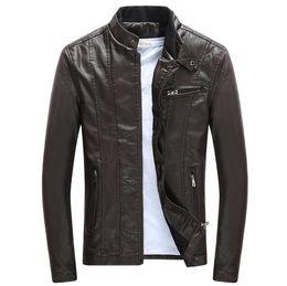 Подставки для мотоциклов онлайн-Весенние осенние мужские PU кожаные куртки Стенд воротник пальто Мужской мотоцикл Slim Верхняя одежда Мужская марка одежды