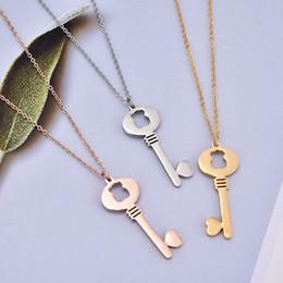 Wholesale Panda Key Chain - Excellent quality Fashion New Unique design Women Titanium Steel panda Pendant key heart shapes charms necklace El oso de collar