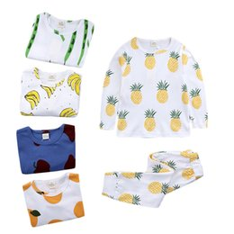 Wholesale Cute Childrens Clothes - 5 designs cute fruits printed kids pajamas 7 sizes for 1-7T boys girls cotton homewears ins hot pineapple banana printing childrens clothing