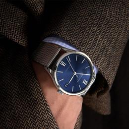 2018 Top Brand Swiss Luxury Fashion relojes de cuero para hombre azul AGELOCER Zafiro reloj analógico automático reloj reloj Dropship desde fabricantes