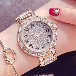 relógios de senhora Desconto Venda quente de Alta Qualidade Mulheres Relógios de Luxo de Aço Completa Rhinestone Relógio de Pulso Senhora Vestido de Cristal Relógios de Ouro Feminino Relógio de Quartzo Marca de Jóias