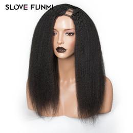 crépus te partie droite Promotion Perruques de cheveux humains Kinky Droite U Partie Perruque Brésilienne Remy Cheveux 130% Densité Italien Yaki Moyenne Cap Machine Fabriqué Slove Cheveux