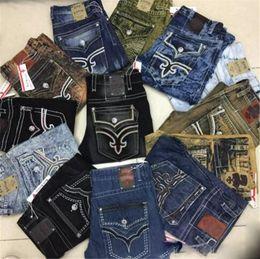 Jeans estilo rock para hombre online-Mens Studs de cristal Robin Rock Revival Jeans Street Style Boy Jeans Pantalones de mezclilla Pantalones de diseñador Tamaño de los hombres 30-42 Nuevo