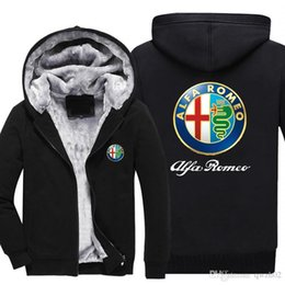 Wholesale thick hooded cardigan sweater - 2018 New hot sale New Alfa Romeo fashion plus velvet thick hooded sweater autumn and winter zipper cardigan jacket -A