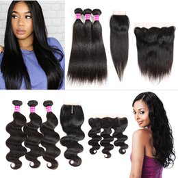 Wholesale remy water wave weave - Unprocessed Brazilian Virgin Hair Straight Body Deep Water Wave Kinky Curly Bundles With Closure Frontal Human Hair Extensions Weave Bundles