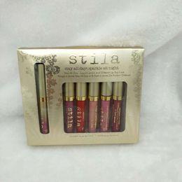 Estancia de labios online-Dropshipping Stila se queda todo el día con brillo durante toda la noche, lápiz labial líquido y capa superior con brillo en los labios 6pcs / set en stock