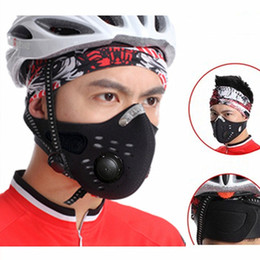 Wholesale Bike Mask Pollution - Wholesale- Winter Anti Pollution Face Mask activated carbon filters Neck Gaiter Cycling Windproof Mask Balaclava MTB Bike Mask