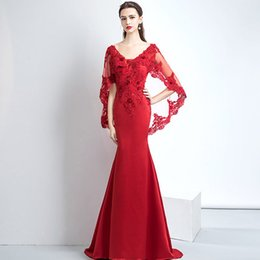 Wholesale Tight Short Evening Dresses - Elegant Burgundy Long Mermaid Evening Dresses with Short Cape Beading Lace Sexy Tight Fitted Formal Gowns Party Dress V-Neck Backless Custom