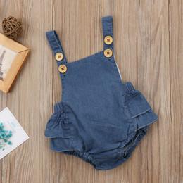 Wholesale Denim Baby Rompers - Baby bodysuit 2018 New Denim Babies Romper Cute With Cap Hat Toddler Jumpsuit Summer Sleeveless Infant Onesies Children Rompers Blue A8187