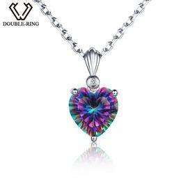 DOUBLE-R Rainbow Fire 3.2ct creó Mystic Topaz plata esterlina 925 Heart NecklacesColgantes para mujer desde fabricantes