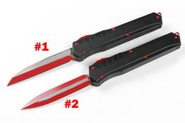 estilos de cuchillo de bolsillo Rebajas Cuchillo táctico AUTOMÁTICO A2 de alta calidad D2 Hoja con revestimiento de titanio rojo T6061 Manija 2 Modelos de estilos de hoja opcionales EDC Navajas