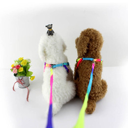 Wholesale wholesale rainbow dog collars - Dog Collar Pet Leash Harness Neck Wire Lead Rope Rainbow Color Nylon Strap Adjustable Durable NNA173