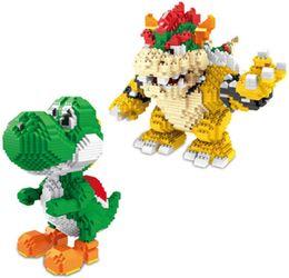 Ladrillos de bloques online-2200 + PCS diamante Tamaño yoshi animado Figura Mario Series y Ladrillos Bowser bloquea los juguetes de dibujos animados de bricolaje Modelos bloques # 3492-3493