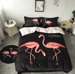 Wholesale Velvet Bedding Sets - Cartoon Flamingo Bedding Sets Winter Velvet Flannel Duvet Covers for Twin Queen Size 4pcs Bedding Duvet Cover Sheet Pillow Cover Pillowcase