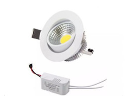 Wholesale Recessed Ceiling Light Fixtures - Newest 6W 9W 12W COB LED Downlights Dimmable 110V 240V Power Driver Tiltable Fixture Recessed Ceiling Down Lights Lamps LLFA