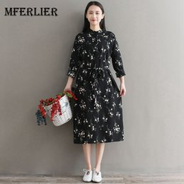 39589f58a3b8 Mferlier Mori Girl Summer Floral Print Chiffon Dress Plus Size Stand Collar  Long Sleeve Drawstring Waist Retro Shirt Dress