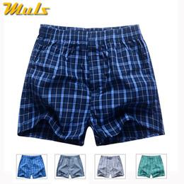 Wholesale men s cotton boxer shorts - Boxers Short men breathable underwear High quality plaid Mens under pant Cotton mens bodysuit European Russian size 3XL B01