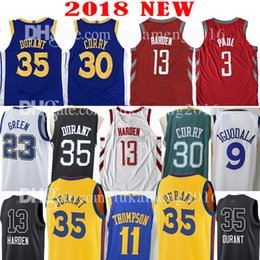 Wholesale Durant Basketball - 2018 New 30 Stephen Curry 35 Kevin Durant 13 James Harden Jersey 23 Draymond Green 11 Klay Thompson 3 Chris Paul 9 Andre lguodala Jerseys